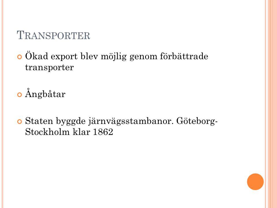 Transporter Ökad export blev möjlig genom förbättrade transporter