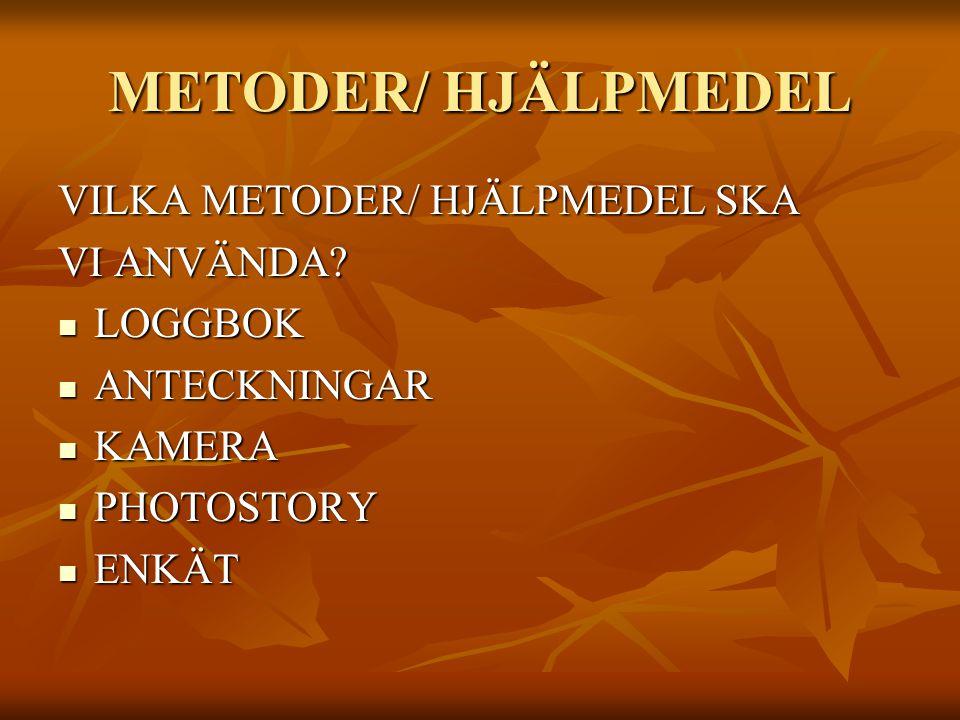 METODER/ HJÄLPMEDEL VILKA METODER/ HJÄLPMEDEL SKA VI ANVÄNDA LOGGBOK