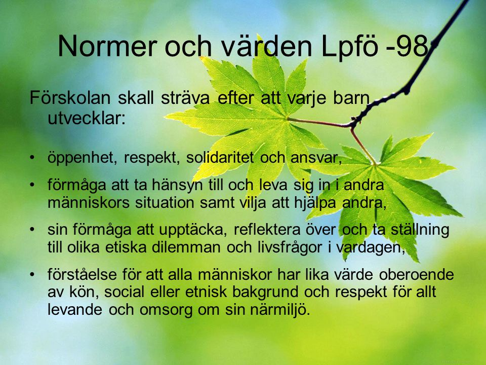 Normer och värden Lpfö -98