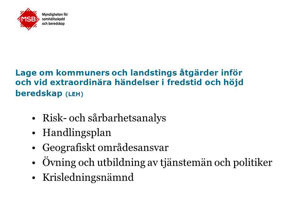 Risk- och sårbarhetsanalys Handlingsplan Geografiskt områdesansvar