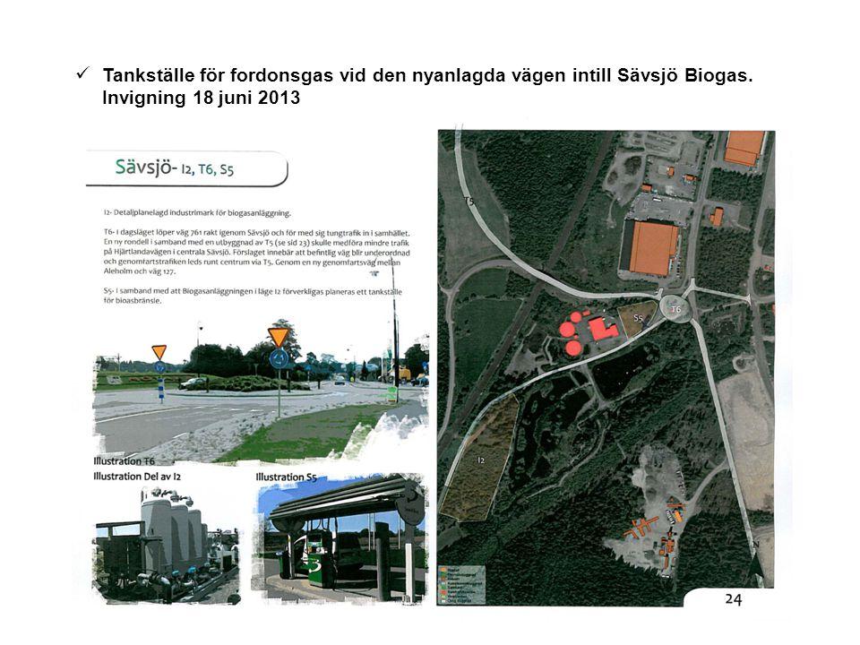 Tankställe för fordonsgas vid den nyanlagda vägen intill Sävsjö Biogas.