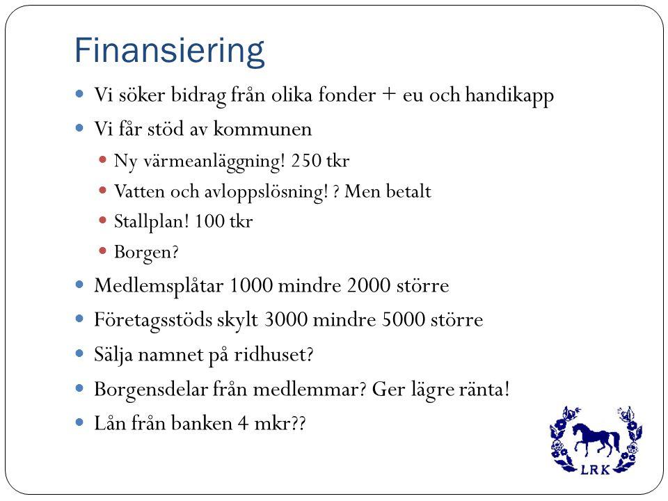 Finansiering Vi söker bidrag från olika fonder + eu och handikapp