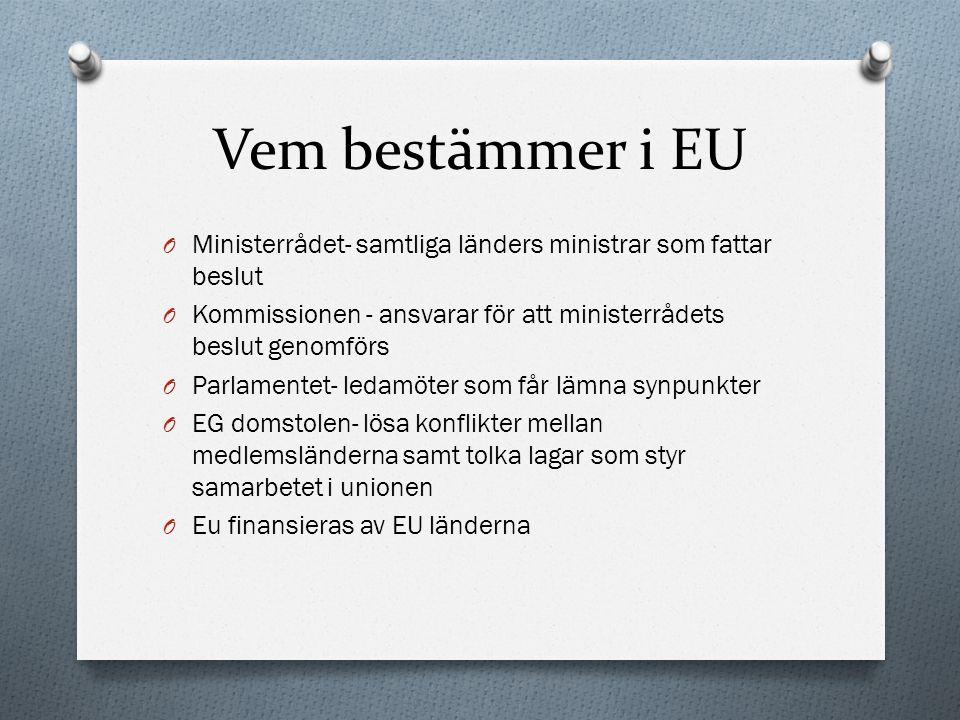 Vem bestämmer i EU Ministerrådet- samtliga länders ministrar som fattar beslut. Kommissionen - ansvarar för att ministerrådets beslut genomförs.