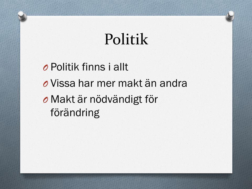 Politik Politik finns i allt Vissa har mer makt än andra