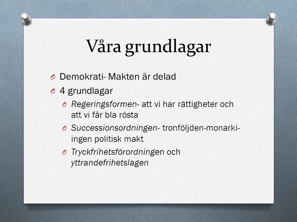 Våra grundlagar Demokrati- Makten är delad 4 grundlagar