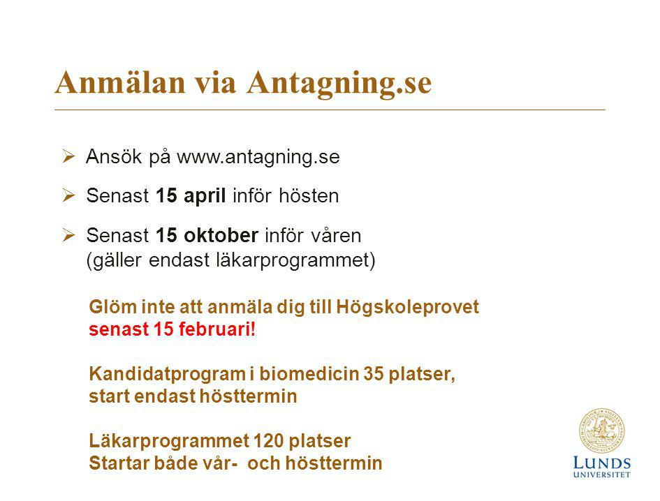 Anmälan via Antagning.se