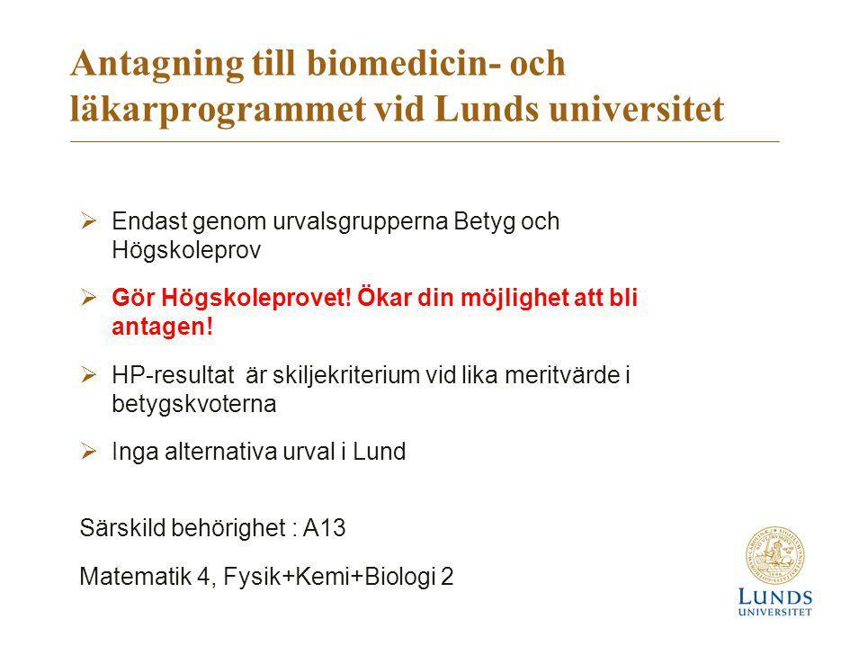 Antagning till biomedicin- och läkarprogrammet vid Lunds universitet