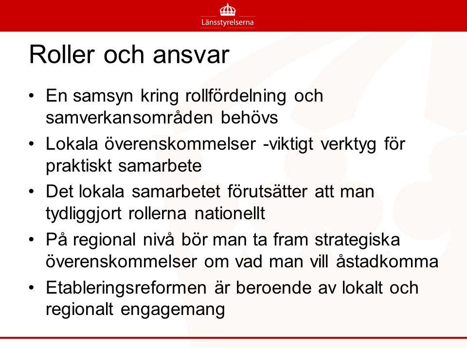 Roller och ansvar En samsyn kring rollfördelning och samverkansområden behövs. Lokala överenskommelser -viktigt verktyg för praktiskt samarbete.