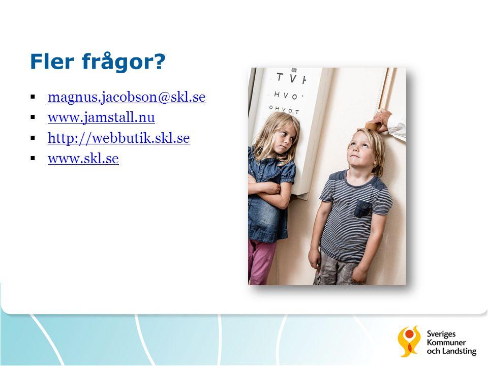 Fler frågor magnus.jacobson@skl.se www.jamstall.nu
