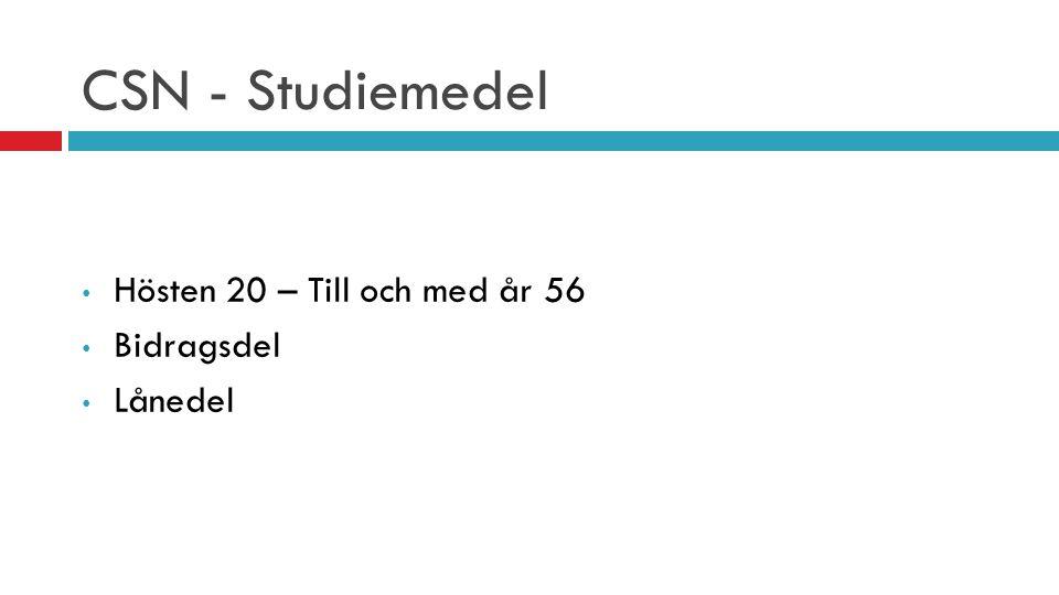 CSN - Studiemedel Hösten 20 – Till och med år 56 Bidragsdel Lånedel