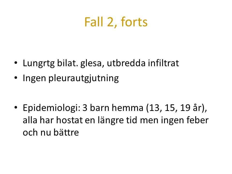 Fall 2, forts Lungrtg bilat. glesa, utbredda infiltrat