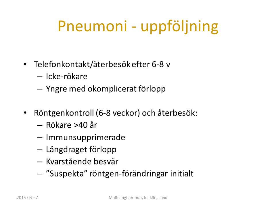Pneumoni - uppföljning