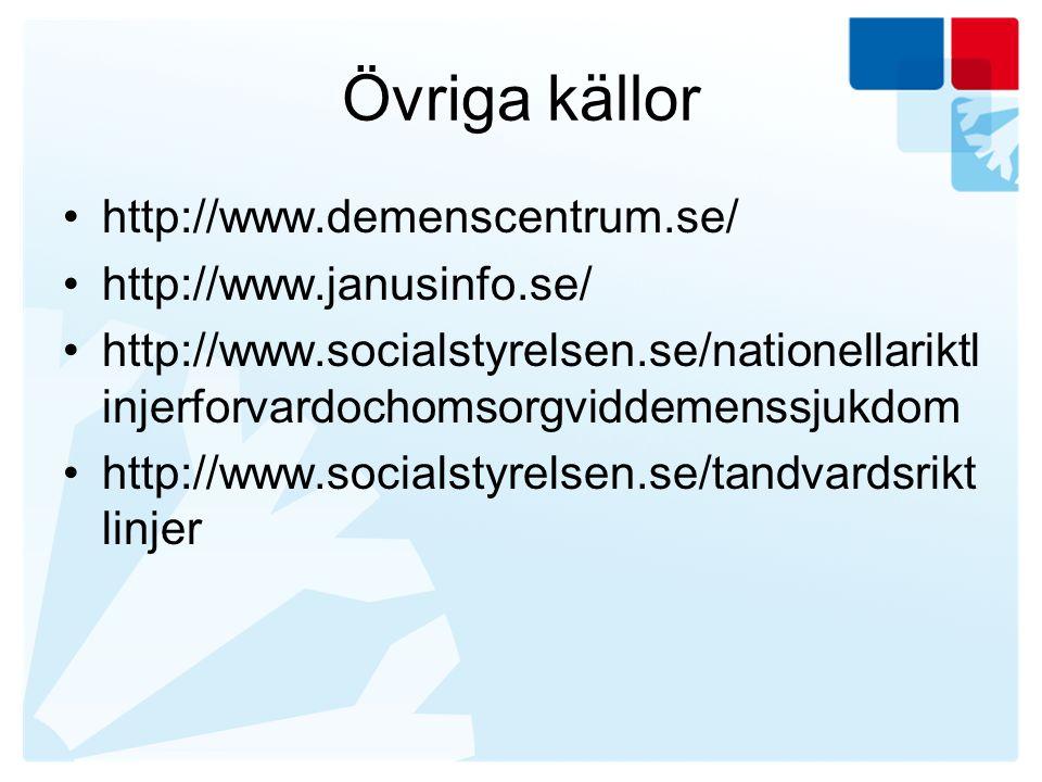 Övriga källor http://www.demenscentrum.se/ http://www.janusinfo.se/