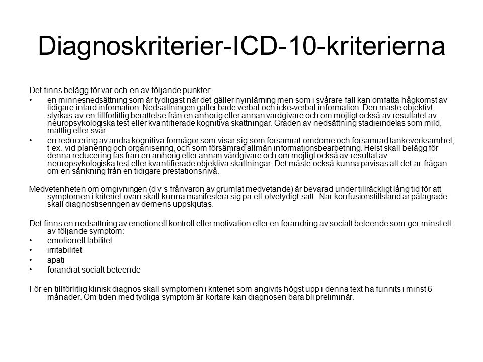 Diagnoskriterier-ICD-10-kriterierna