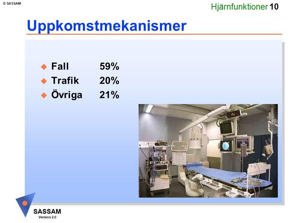 Uppkomstmekanismer Fall 59% Trafik 20% Övriga 21% Kommentar bild 10: