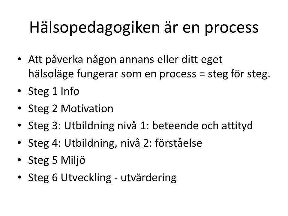 Hälsopedagogiken är en process