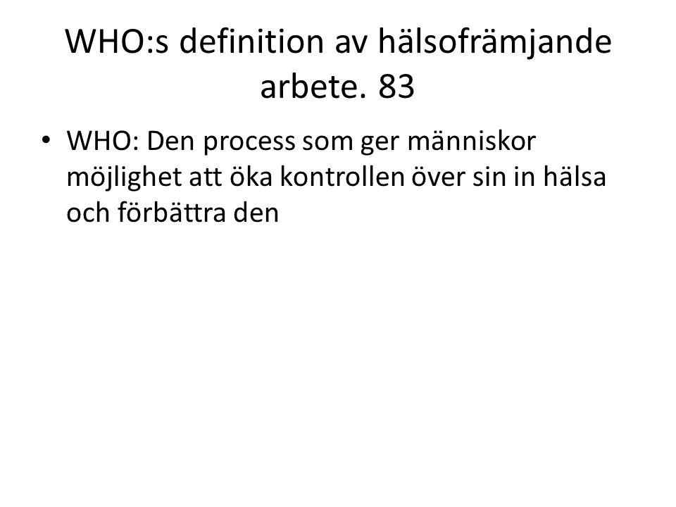 WHO:s definition av hälsofrämjande arbete. 83