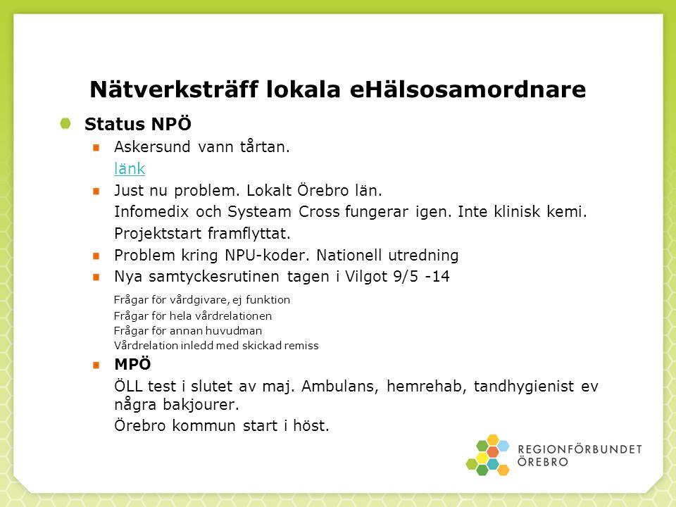 Nätverksträff lokala eHälsosamordnare