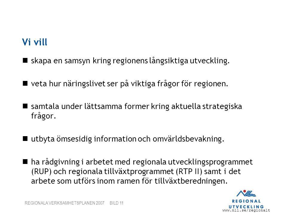 Vi vill skapa en samsyn kring regionens långsiktiga utveckling.
