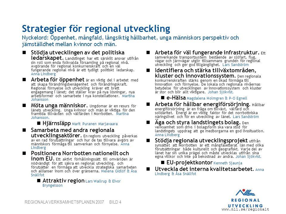 Strategier för regional utveckling Nyckelord: Öppenhet, mångfald, långsiktig hållbarhet, unga människors perspektiv och jämställdhet mellan kvinnor och män.
