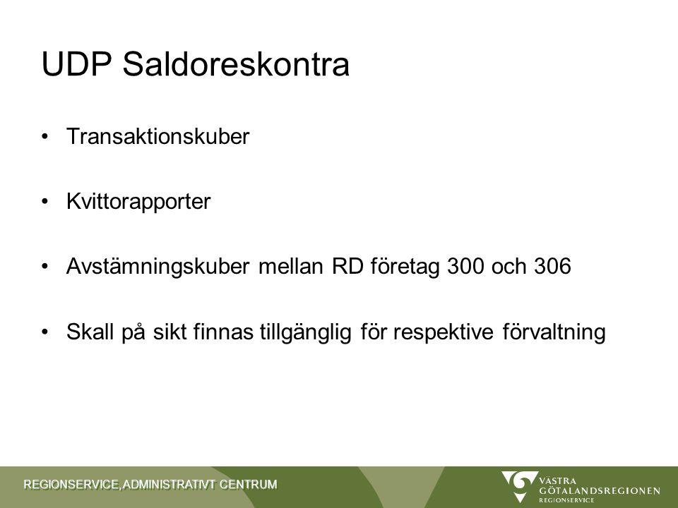 UDP Saldoreskontra Transaktionskuber Kvittorapporter