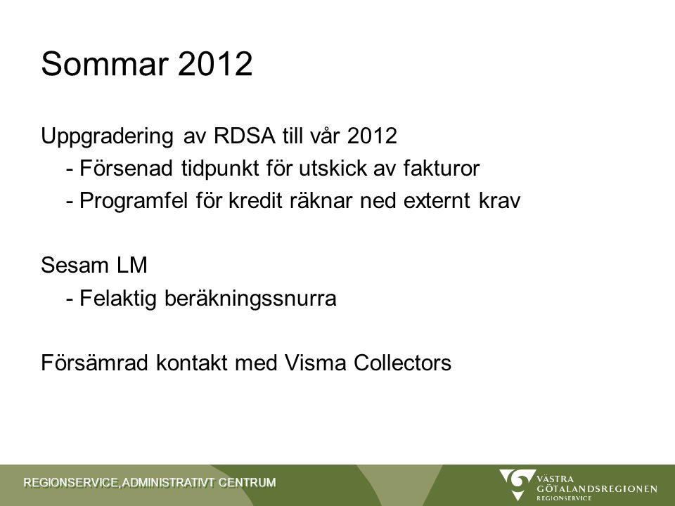 Sommar 2012 Uppgradering av RDSA till vår 2012
