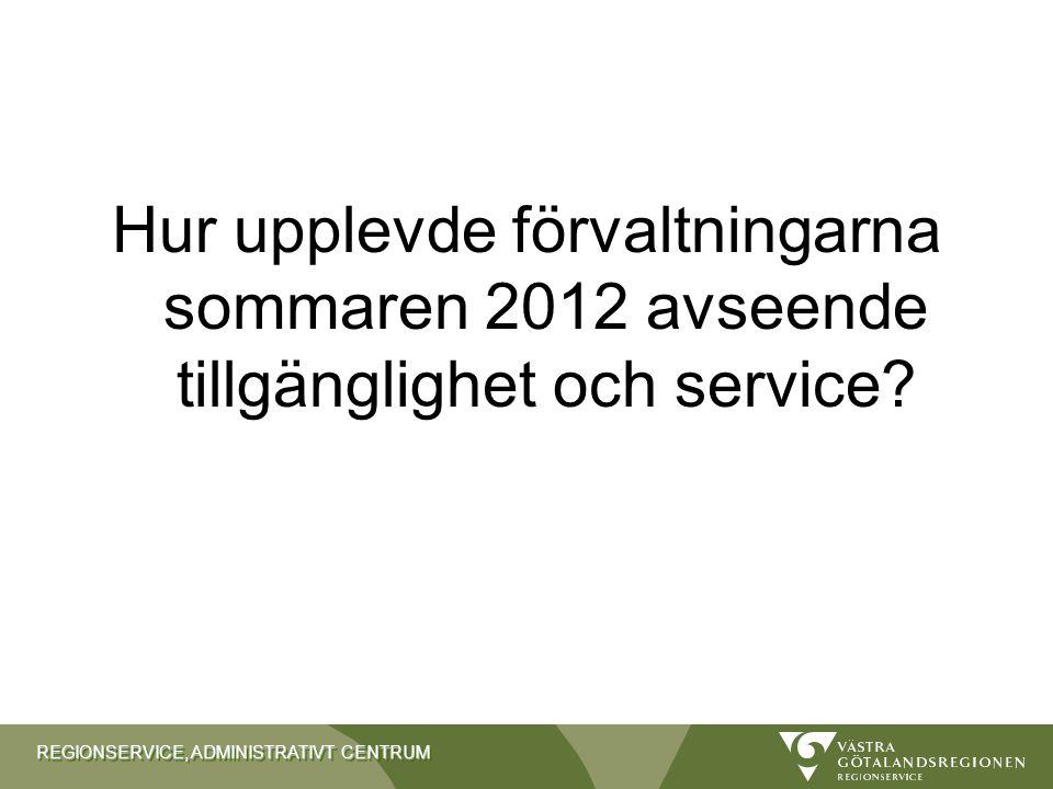 Hur upplevde förvaltningarna sommaren 2012 avseende tillgänglighet och service
