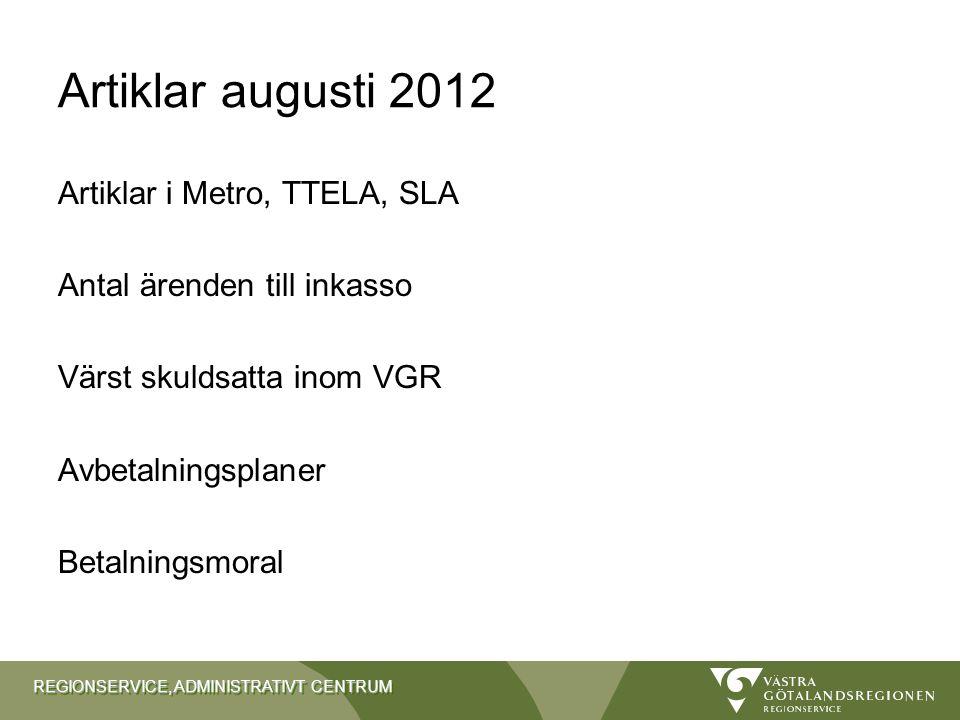 Artiklar augusti 2012 Artiklar i Metro, TTELA, SLA