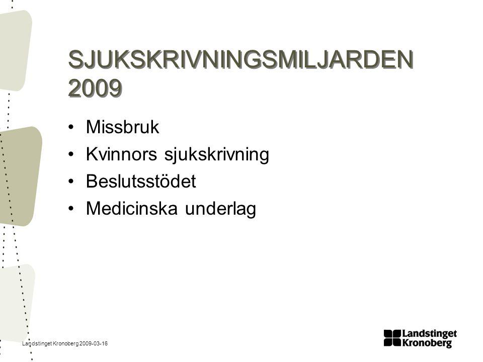 SJUKSKRIVNINGSMILJARDEN 2009