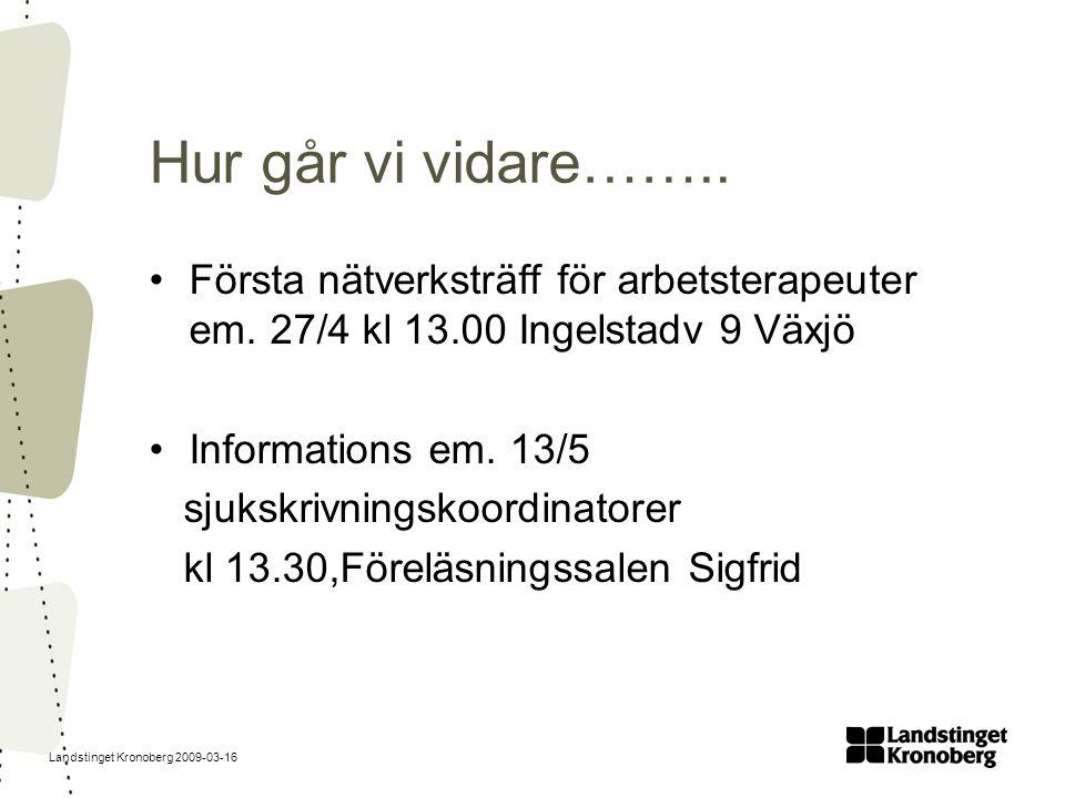 Hur går vi vidare…….. Första nätverksträff för arbetsterapeuter em. 27/4 kl 13.00 Ingelstadv 9 Växjö.