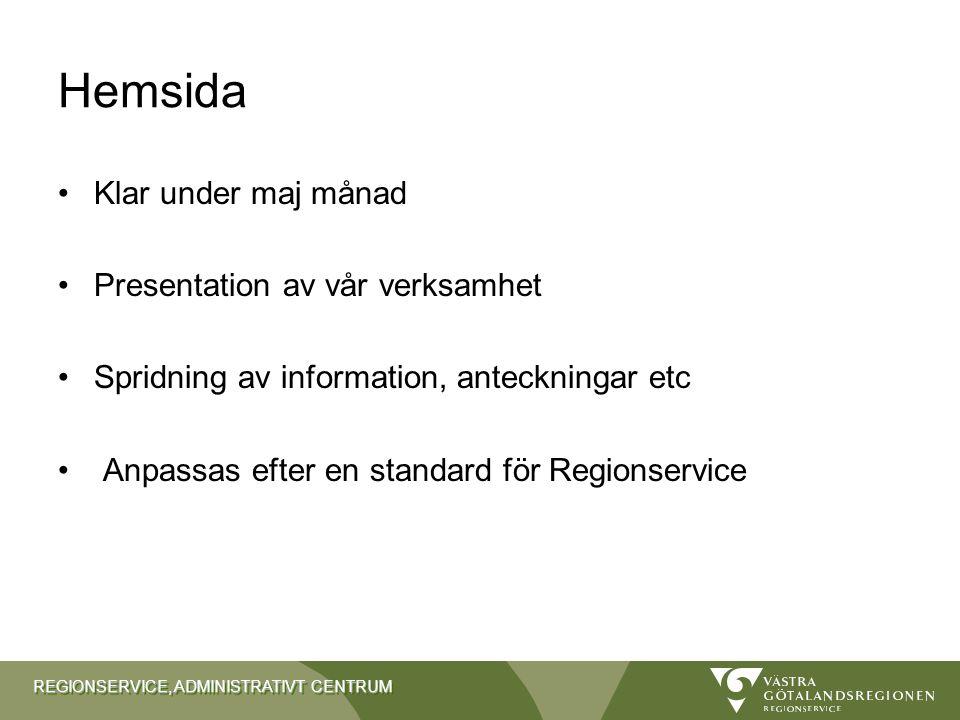 Hemsida Klar under maj månad Presentation av vår verksamhet