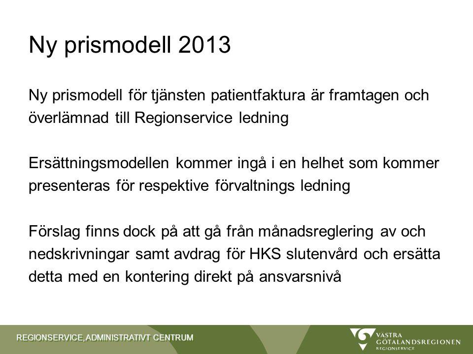Ny prismodell 2013 Ny prismodell för tjänsten patientfaktura är framtagen och. överlämnad till Regionservice ledning.