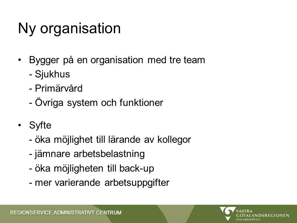 Ny organisation Bygger på en organisation med tre team - Sjukhus