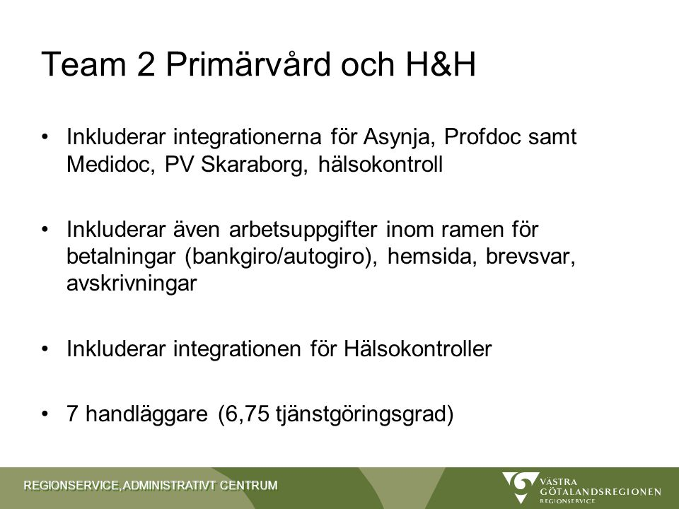 Team 2 Primärvård och H&H