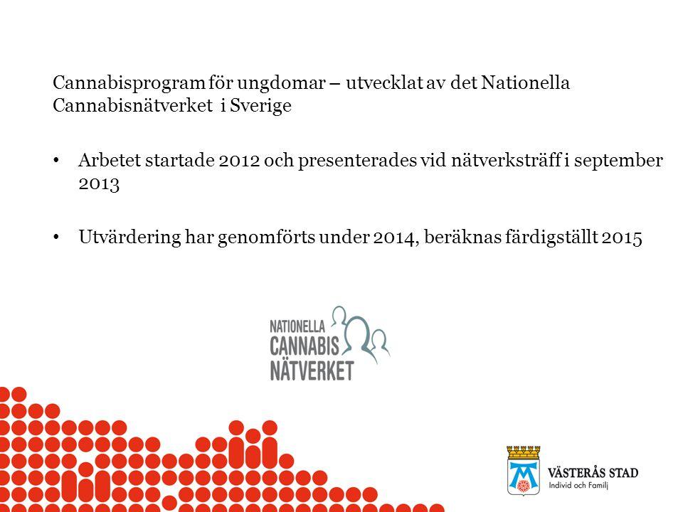 Cannabisprogram för ungdomar – utvecklat av det Nationella Cannabisnätverket i Sverige