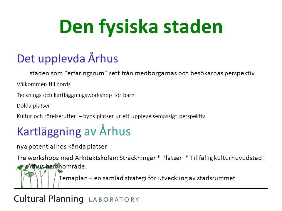 Den fysiska staden Det upplevda Århus Kartläggning av Århus