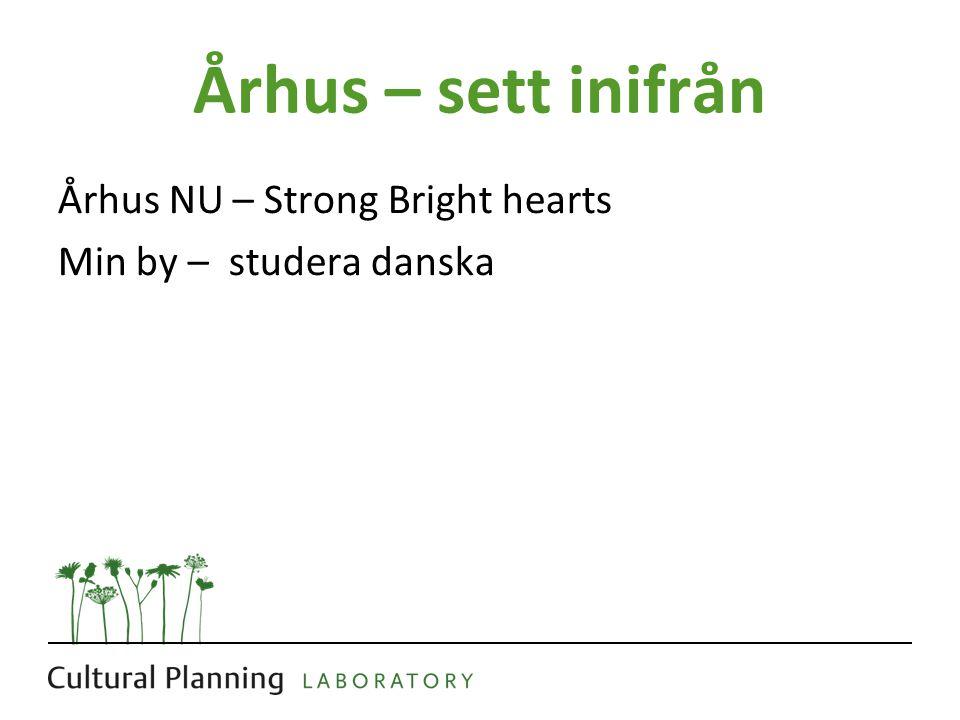 Århus – sett inifrån Århus NU – Strong Bright hearts Min by – studera danska