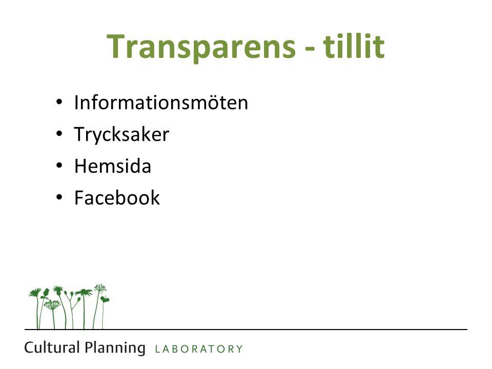 Transparens - tillit Informationsmöten Trycksaker Hemsida Facebook