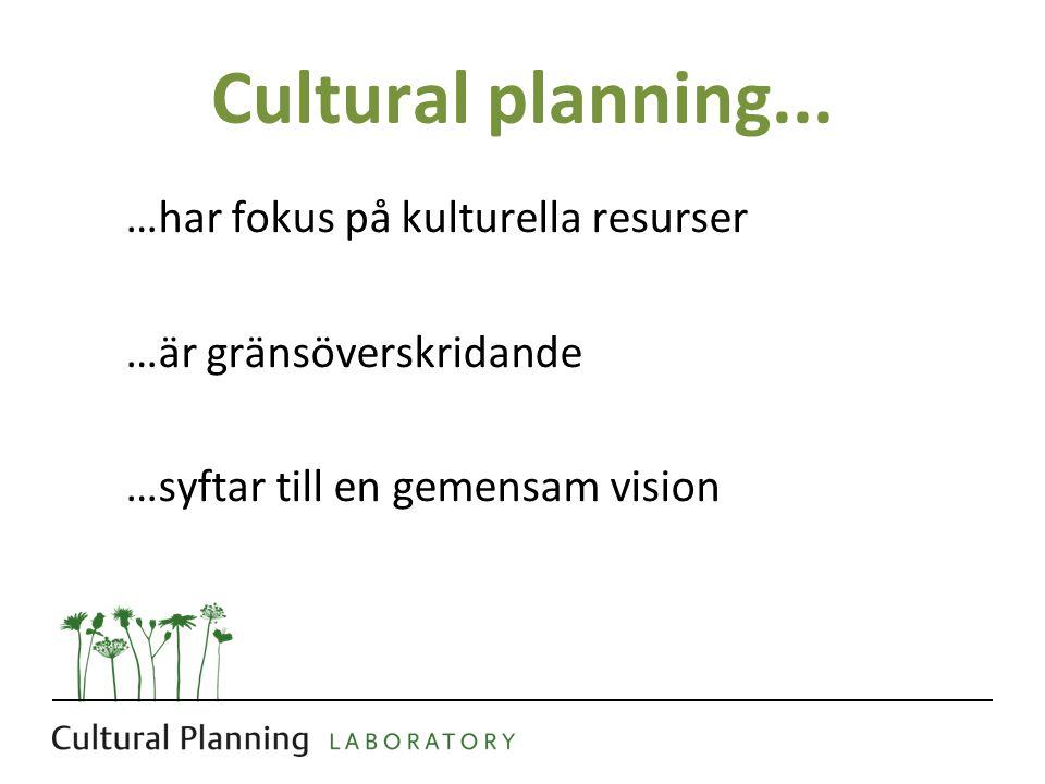 Cultural planning... …har fokus på kulturella resurser