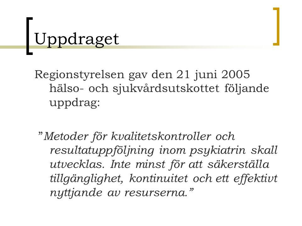 Uppdraget Regionstyrelsen gav den 21 juni 2005 hälso- och sjukvårdsutskottet följande uppdrag: