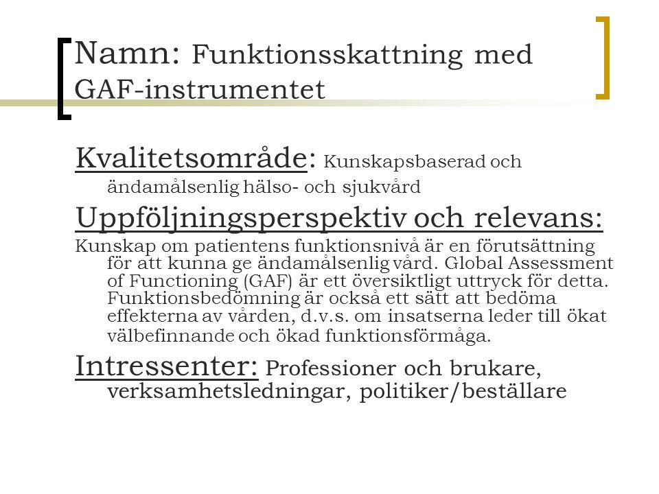 Namn: Funktionsskattning med GAF-instrumentet