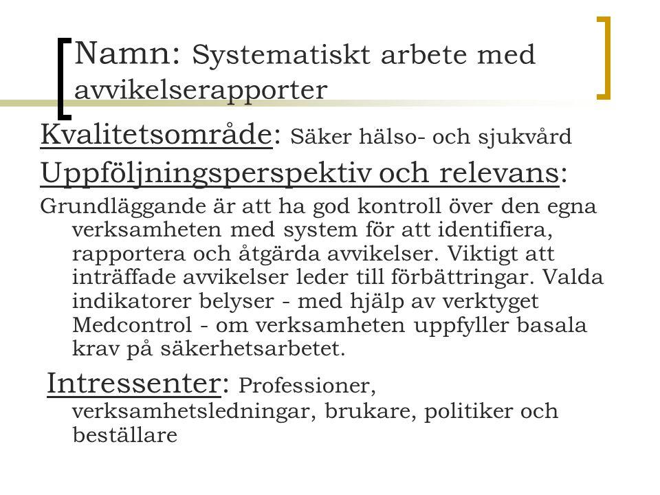 Namn: Systematiskt arbete med avvikelserapporter