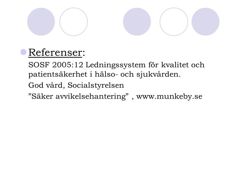 Referenser: SOSF 2005:12 Ledningssystem för kvalitet och patientsäkerhet i hälso- och sjukvården. God vård, Socialstyrelsen.