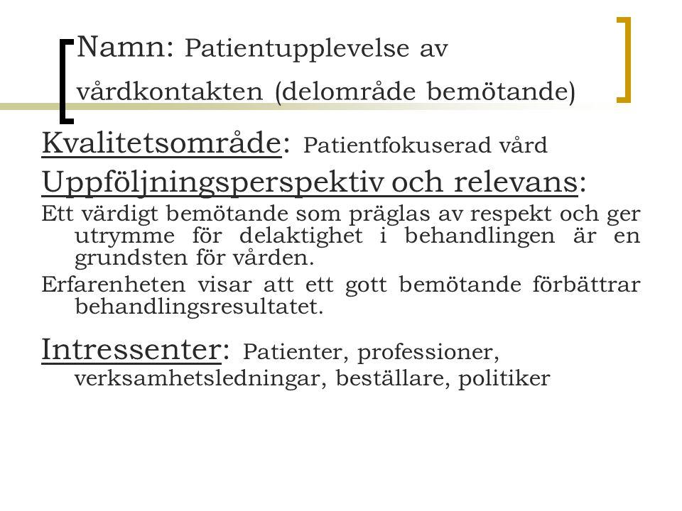Namn: Patientupplevelse av vårdkontakten (delområde bemötande)