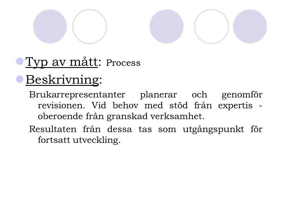 Typ av mått: Process Beskrivning:
