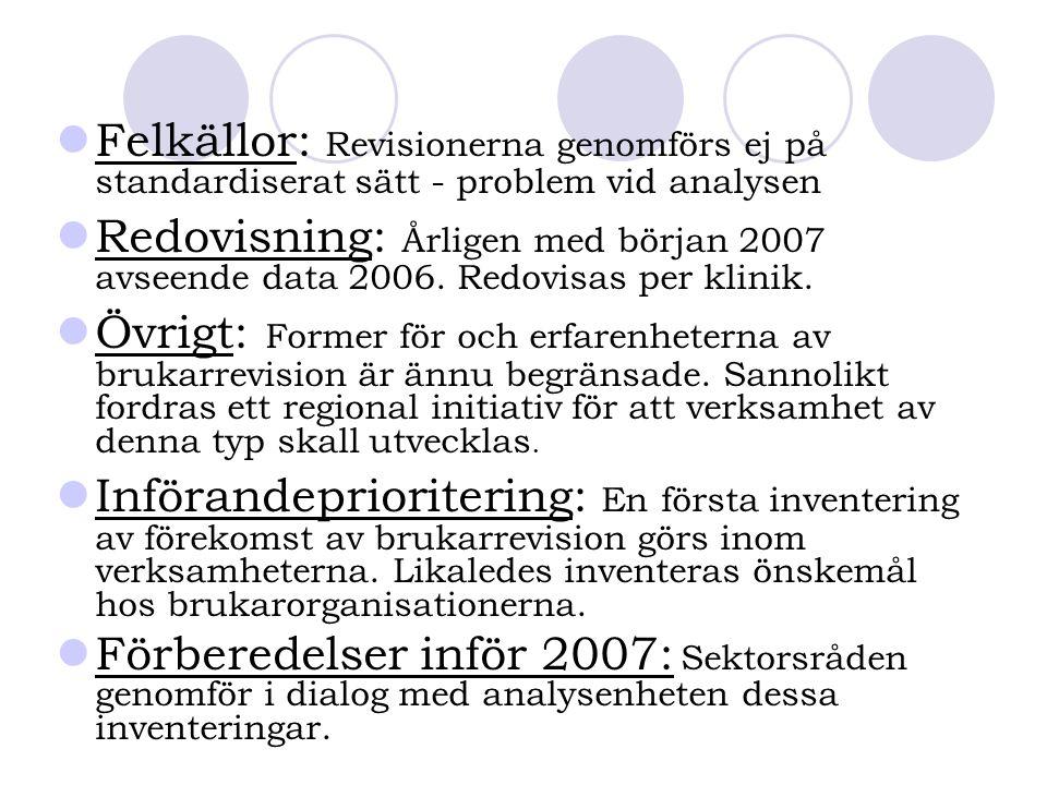 Felkällor: Revisionerna genomförs ej på standardiserat sätt - problem vid analysen