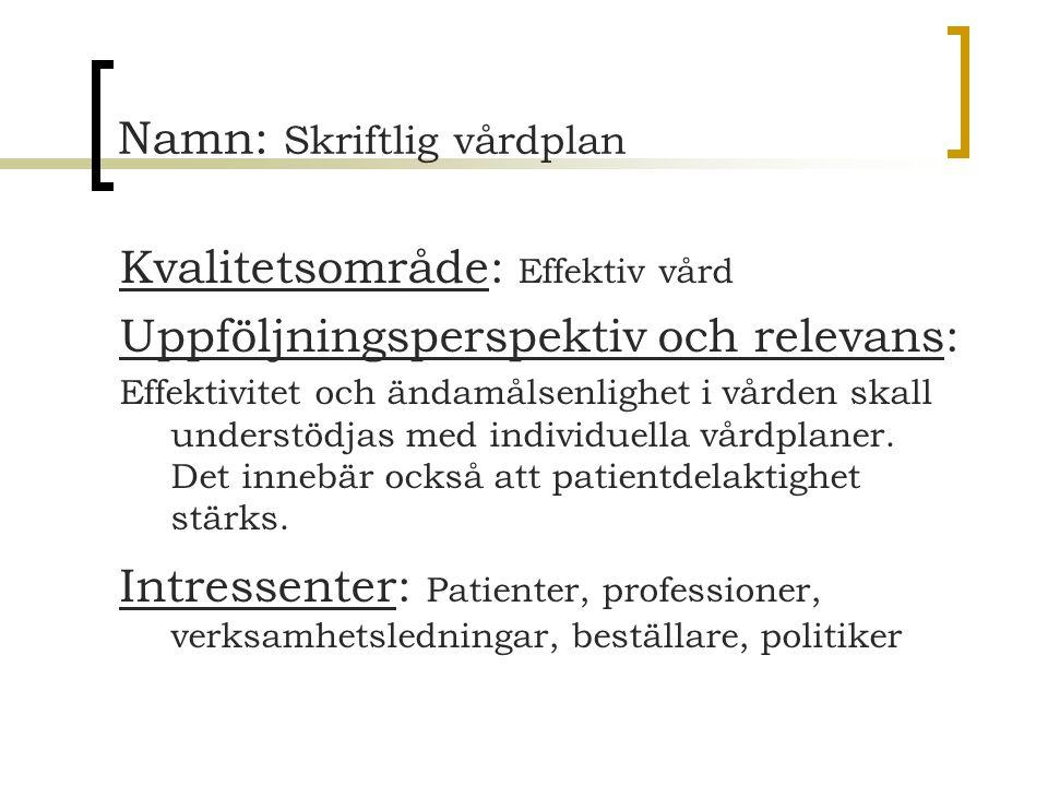 Namn: Skriftlig vårdplan