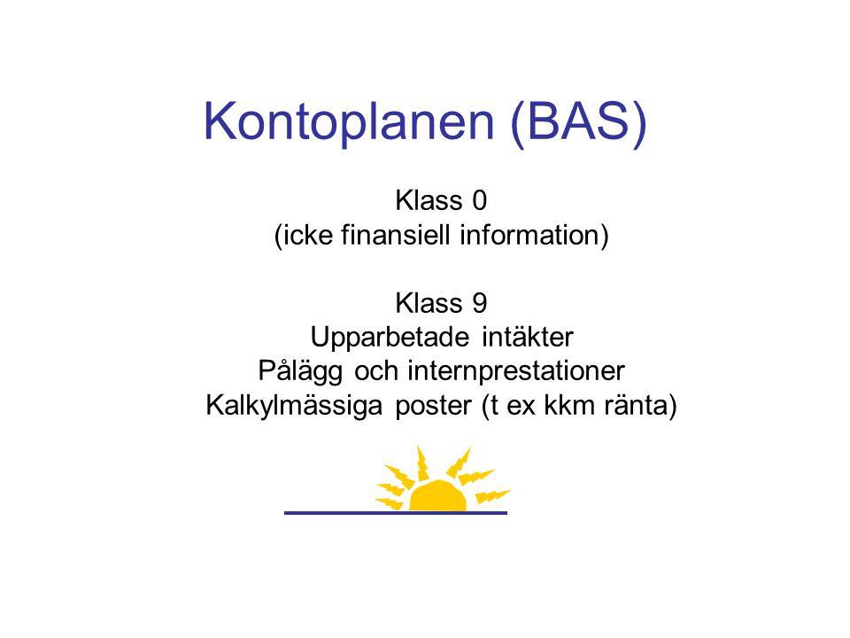 Kontoplanen (BAS) Klass 0 (icke finansiell information) Klass 9