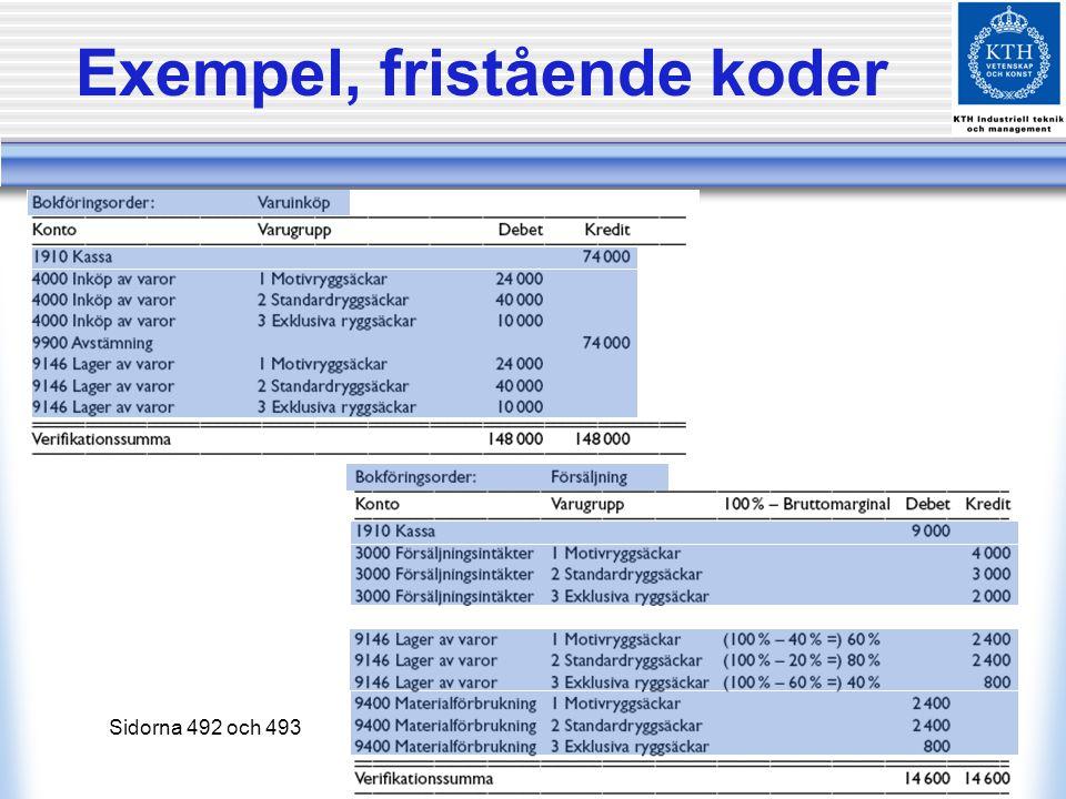 Exempel, fristående koder