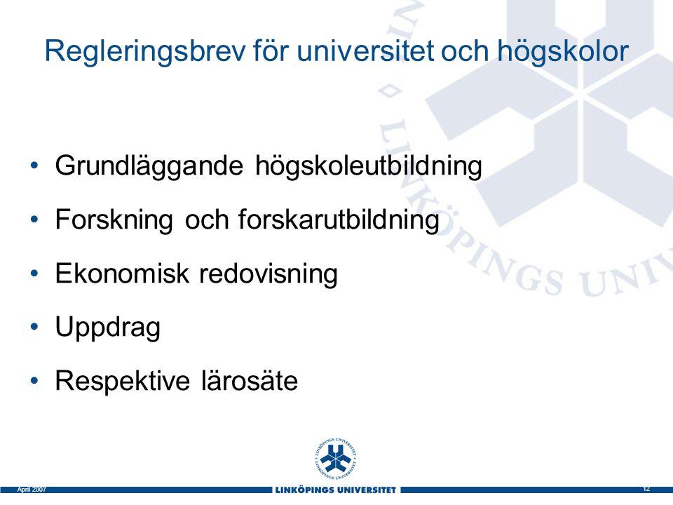 Regleringsbrev för universitet och högskolor